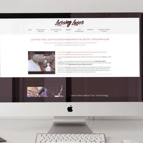 Azula Web Lansing Laser tattoo removal website on desktop.