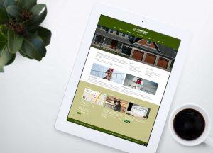 Azula Web Crawford Door Company residential and commercial door website on tablet.