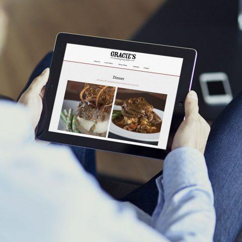Azula Web Gracie's Bistro restaurant website on tablet.
